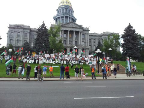People rally in Denver to support Palestinians in Gaza