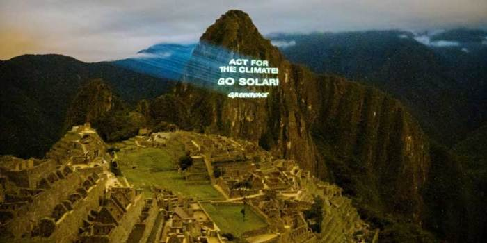 Actions At Machu Picchu Ruins Ahead of Lima Climate Change Conference