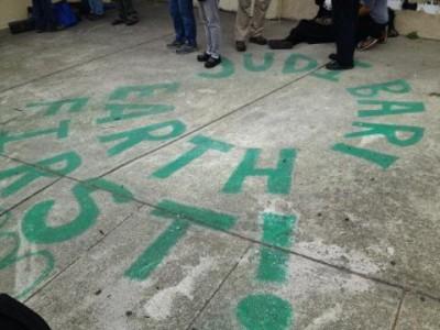 Sidewalk painted at the 2014 Judi Bari memorial still stands.