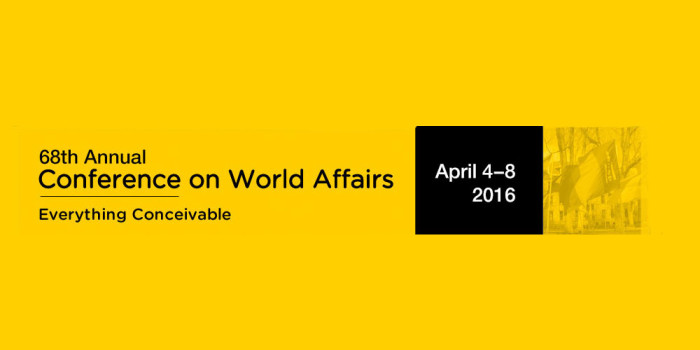 68th Annual Conference on World Affairs to start Monday