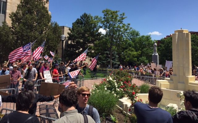 "Counter-protestors Outnumber ""Western Chauvinist"" Rally in Down-town Boulder"