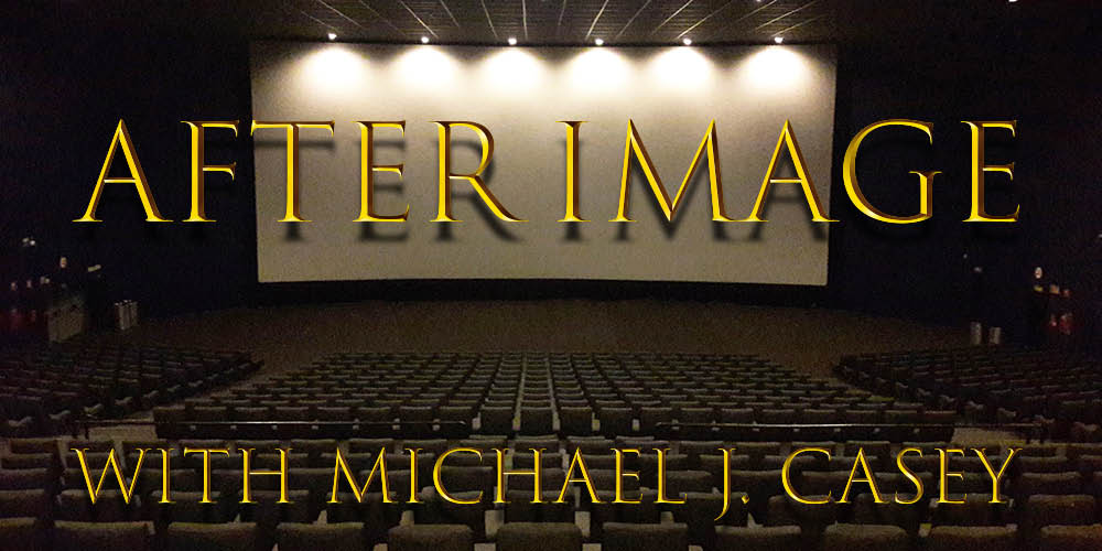 """A blank movie screen in a cinema with the title """"After Image with Michael J. Casey"""" on top."""